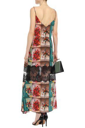 STELLA McCARTNEY Lace-trimmed printed silk crepe de chine slip dress