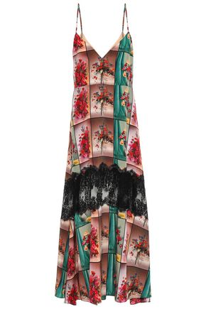 STELLA McCARTNEY Lace-trimmed printed silk crepe de chine slip dress