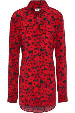SAINT LAURENT Lace-up floral-print silk crepe de chine shirt