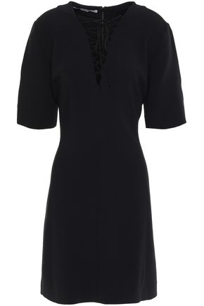 STELLA McCARTNEY Flared lace-up stretch-crepe mini dress