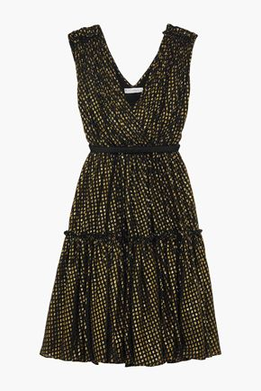 STELLA McCARTNEY Belted metallic fil coupé silk-blend dress