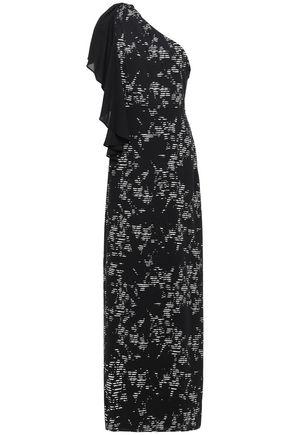 HALSTON HERITAGE One-shoulder printed crepe gown