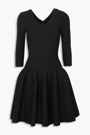 ALAÏA Flared textured stretch-knit mini dress