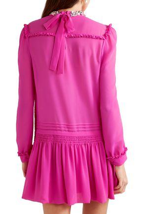 MIU MIU Embellished pleated silk-chiffon mini dress