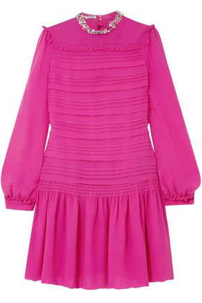 MIU MIU Embellished pleated silk-chiffon mini dress