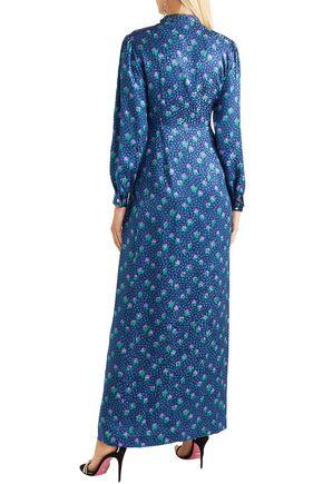 MIU MIU Gathered printed silk maxi dress