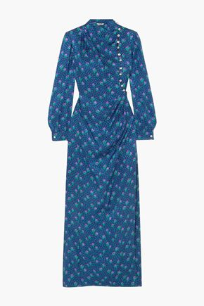 MIU MIU Gathered printed silk maxi dress