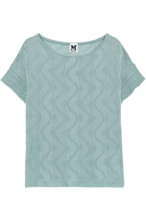 M MISSONI Jacquard and crochet-knit cotton-blend top