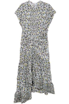 CHLOÉ Ruffle-trimmed pleated floral-print georgette midi dress