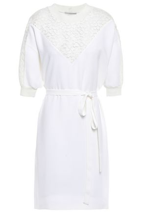 STELLA McCARTNEY Lace-paneled stretch-crepe mini dress