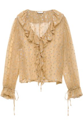 f98ea29b22e SAINT LAURENT Ruffle-trimmed polka-dot metallic silk-blend fil coupé blouse