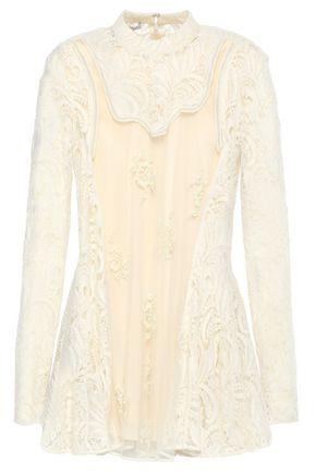 STELLA McCARTNEY Lace-paneled embellished wool-blend tulle top