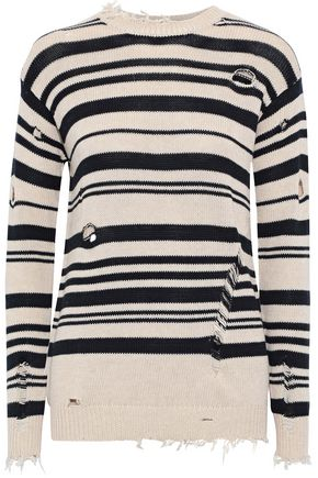 AUTUMN CASHMERE Distressed striped cotton sweater