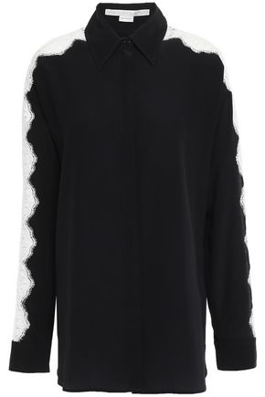 STELLA McCARTNEY Lace-trimmed cotton-blend crepe de chine shirt