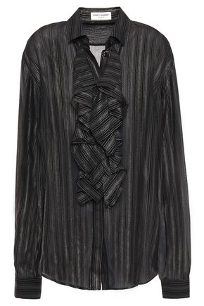 SAINT LAURENT Ruffle-trimmed striped lamé voile shirt