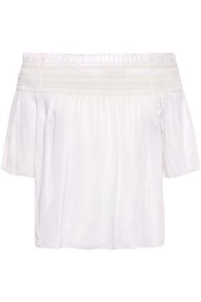 SAINT LAURENT Off-the-shoulder frayed shirred cotton-gauze blouse
