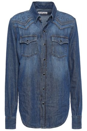 SAINT LAURENT Embroidered faded cotton-chambray shirt