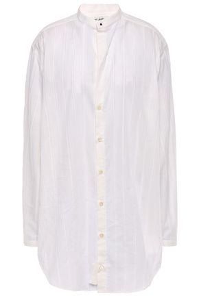 SAINT LAURENT Oversized striped fil coupé cotton blouse