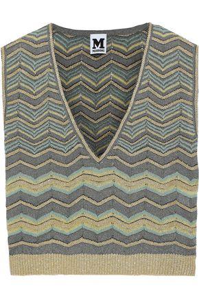 M MISSONI Cropped metallic crochet-knit top