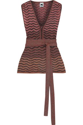 M MISSONI Belted metallic crochet-knit top