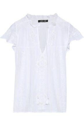 LOVE SAM Ruffled embroidered cotton-gauze blouse
