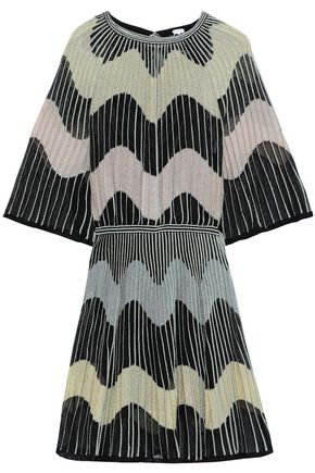 M MISSONI Metallic ribbed crochet-knit mini dress