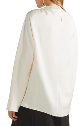 THE ROW Ruched silk-satin blouse