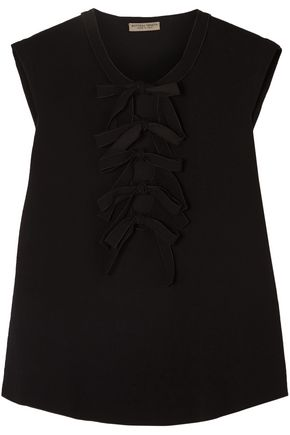 BOTTEGA VENETA Bow-detailed stretch-crepe blouse