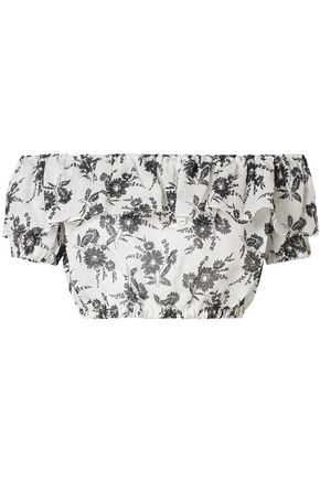 MIU MIU Cropped off-the-shoulder printed ramie top