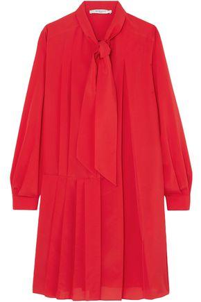GIVENCHY Tie-neck pleated silk-blend crepe de chine mini dress