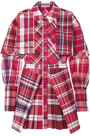 ALEXANDER MCQUEEN Layered checked silk and cotton-blend mini shirt dress