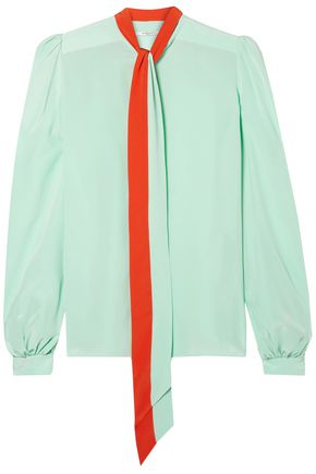 GIVENCHY Tie-neck two-tone silk crepe de chine blouse