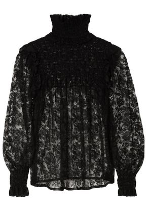 SAINT LAURENT Lace turtleneck blouse
