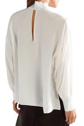 FENDI Broderie anglaise silk crepe de chine blouse