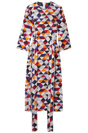 AKRIS Printed silk-crepe midi dress