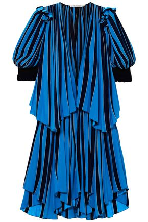 GIVENCHY Draped striped silk-crepe midi dress