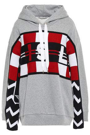 STELLA McCARTNEY Jacquard-paneled French cotton-terry hoodie