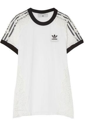 ADIDAS by STELLA McCARTNEY Lace-paneled cotton-jersey T-shirt