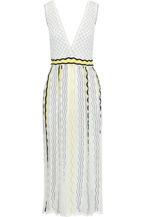 M MISSONI Embroidered crochet-knit cotton-blend midi dress