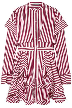 ALEXANDER MCQUEEN Layered striped cotton-poplin mini shirt dress