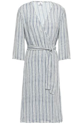 IRIS & INK Helga striped cady wrap dress