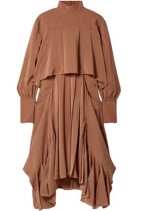 CHLOÉ Asymmetric pleated silk crepe de chine turtleneck dress