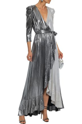 RETROFÊTE Flora ruffle-trimmed two-tone lamé maxi wrap dress