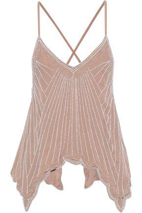 RETROFÊTE Tina bead-embellished crepe de chine camisole