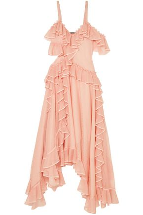 ALEXANDER MCQUEEN Asymmetric ruffled pointelle-knit silk midi dress