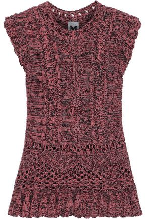 M MISSONI Ruffle-trimmed marled cable-knit wool-blend top