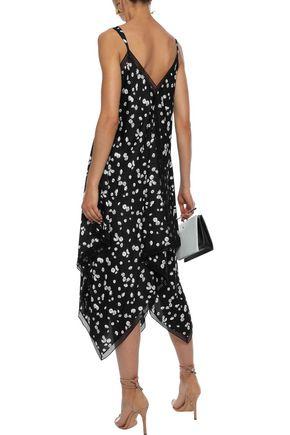 JASON WU Asymmetric floral-print crepe de chine midi slip dress