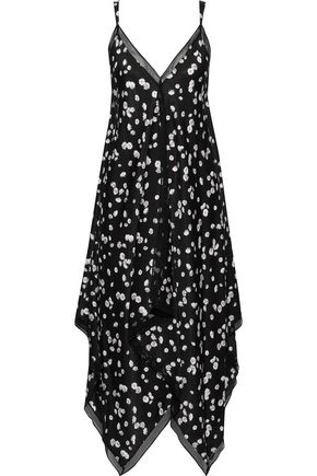 JASON WU Asymmetric floral-print crepe de chine midi slip dress