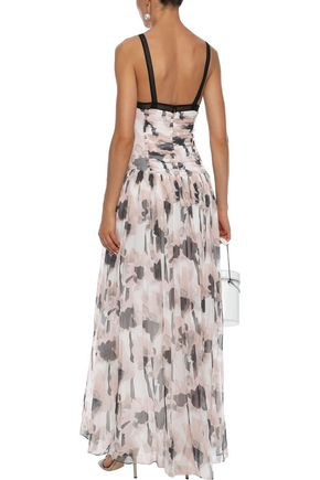JASON WU Lace-trimmed ruched printed silk-georgette gown