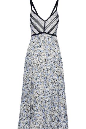 JASON WU Georgette-trimmed floral-print silk-jacquard midi dress